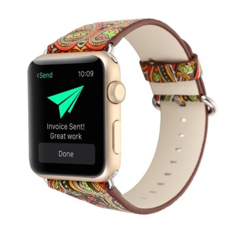 leegoal Vintage Folk National Style Colorful Painting Watch Band Strap For Apple Watch Leather Bracelet With Connector 42mm ...