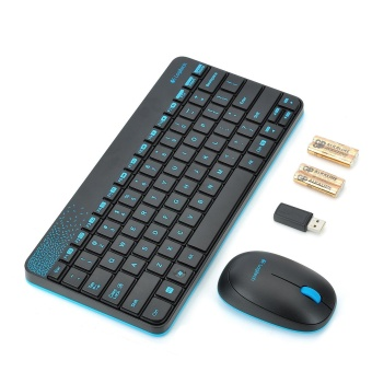 Logitech MK240 79-Key Wireless Keyboard w/ 1000dpi Mouse - Black +Blue (4 x AAA) - intl - 2
