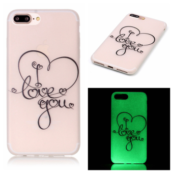 Luminous Glow Soft TPU Phone Back Case for iPhone 7 Plus (I Love You)