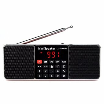 LUOMO LED Screen Display L-288 Portable AM FM Stereo Radio with Wireless Speaker MP3 Player (Black) - intl - 3