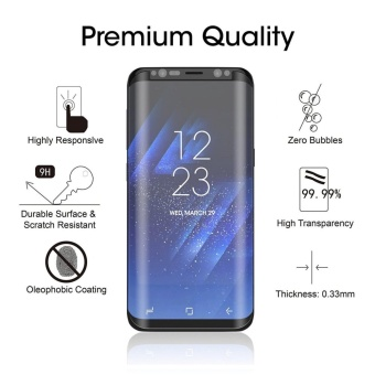 LUOWAN Galaxy S8 Screen Protector,New Curved Full Tempered GlassScreen Protector Film [Non-full screen][Bubble Free ][ScratchResistant][Easy Installation] For for Samsung Galaxy S8 5.8 inch(Black) - 3
