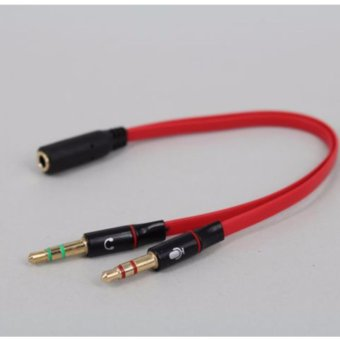 LYBALL 3.5mm Male to 2 Female Headphone Mic Jack Audio Stereo with Separate Headset Microphone Plugs Jack Y Splitter Cable Red - intl
