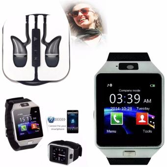 M9 Intelligent Phone Quad Smart Watch with Sim Card Slot(Black/Silver) with ADAMAS High Quality Unique In-Ear Phone Headset(Black)
