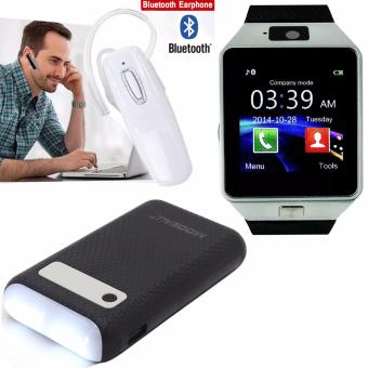 M9 Intelligent Phone Quad Smart Watch with Sim Card Slot(Black/Silver) with MODEALL M-03 20000mah LCD Display Dual PortPowerBank with Flashlight (Black) and A12 NEW Wireless BluettothHeadset (White)