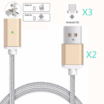 Magnetic clip-on USB Fast Charging and High Speed data Transmission Sync Braided Wire 3-in-1 Magnetic LightingMicro USBType-C Mini Metal Head for iOS or Android(2 Magnetic Charging data Cable and 3 Micro USB connector) - intl