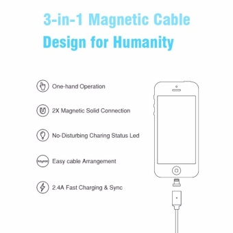 Magnetic clip-on USB Fast Charging and High Speed data TransmissionSync Braided Wire 3-in-1 Magnetic LightingMicro USBType-C MiniMetal connector for iOS or Android(1 Magnetic Charging data Cableand 3 Micro USB connector) - intl - 4