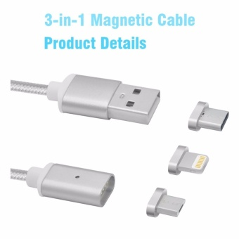 Magnetic clip-on USB Fast Charging and High Speed data TransmissionSync Braided Wire 3-in-1 Magnetic LightingMicro USBType-C MiniMetal connector for iOS or Android(1 Magnetic Charging data Cableand 3 Micro USB connector) - intl - 3