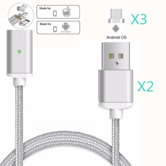 Magnetic clip-on USB Fast Charging and High Speed data TransmissionSync Braided Wire 3-in-1 Magnetic LightingMicro USBType-C MiniMetal Head for iOS or Android(2 Magnetic Charging data Cable and 3Micro USB connector) - intl