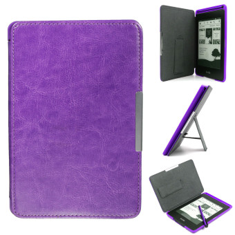 Magnetic Leather Stand Case for Amazon Kindle Purple