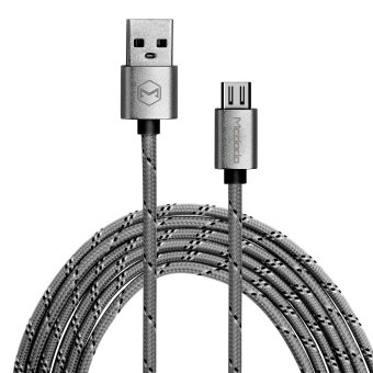 Mcdodo Reversible Woven Fabric Data Cable Micro USB Cable Micro USB to USB AM Charge Data Sync Cable MCA-1140/GY-1.5 (Grey)