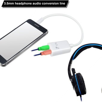MENGS(R) 3.5mm Jack splitter for Headphone and Microphone AudioConverter Adapter Cable - 2