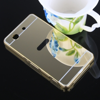 Metal Frame Bumper Case Mirror Effect Hard PC Back Cover for SonyXperia Z1 Compact / Z1 Mini (Gold) - 4