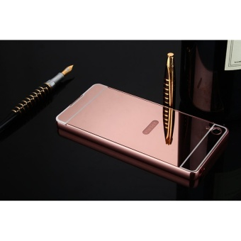 Metal Frame Mirror Back Case Cover For SONY Xperia XA (Rose Gold) -intl - 4