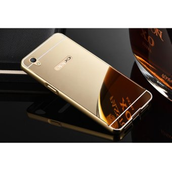 Metal mirror border Back Case Cover For Oppo A37 (gold) - intl