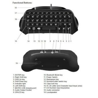 Mini Bluetooth Wireless Keyboard for Sony PS4 PlayStation 4 - 4