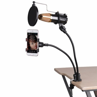 Mini Desk And Table Top Microphone Stand Phone Holder Kit - 2