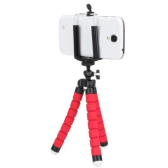 Mini Flexible Camera Tripod Octopus Tripod Holder Stand Mount forPhone Camera Universal Tripods for Gopro Hero3/4(RED)+Clip Holder -intl