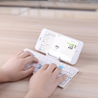 Mini Folding Bluetooth Wireless Keyboard for Tablet&Smartphone,Aluminum Alloy Housing with stand, Portable &lightweight - intl Price Philippines