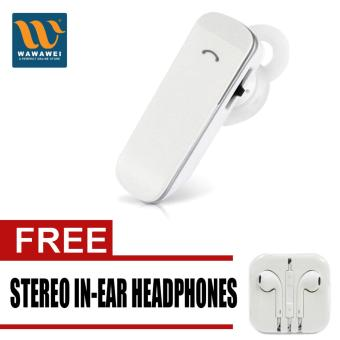 Mini ultra-small Ear Bluetooth headset 4.0 stereo music neutral newwireless motion with free Stereo In-Ear Headphone (White)