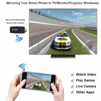 Miracast Dongle COCAR X2 HDMI 2.4G Wifi Display TV Screen MirroringAdapter Wireless Streaming Videos Audio Picture Live Camera Musicfor iPhone Airplay DLNA iPad Andorid Smart Phone to Tablet TVMonitor Projector - intl - 2