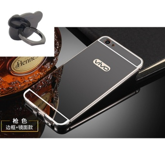 Mirror Metal Frame with Bear ring phone case for VIVO Y53 2017(Black) - intl