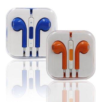 Model Stereo In-Ear Headphones for iPhone (Blue/Orange) Set of 2
