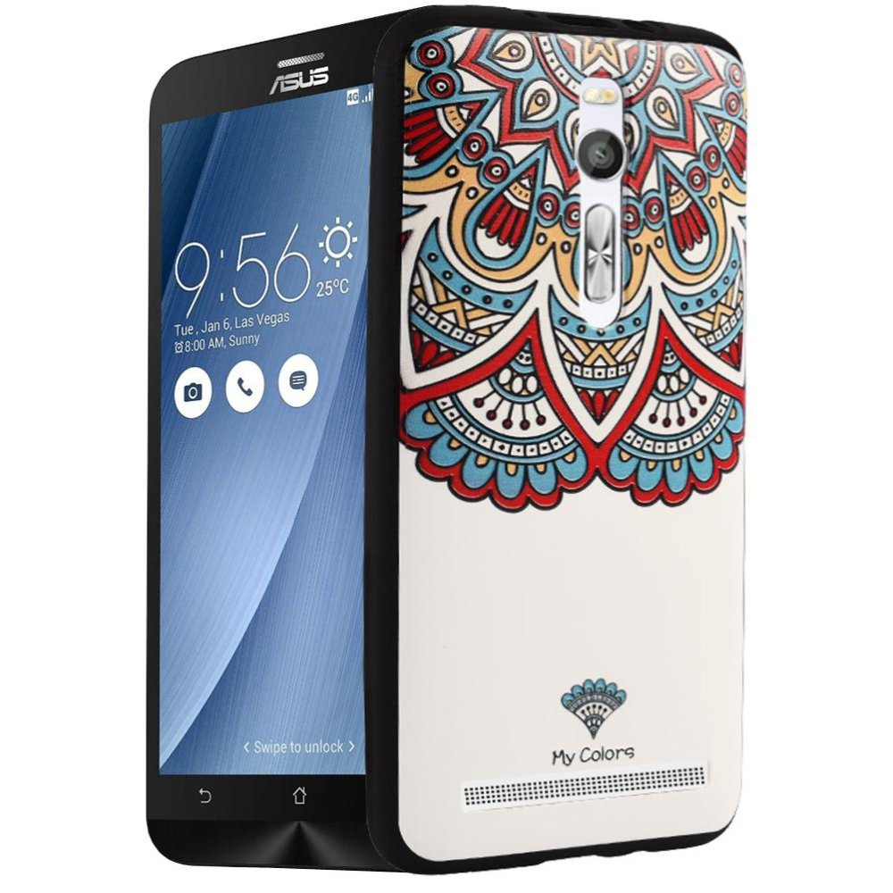 Mooncase Case For Asus Zenfone 2 ZE551ML 3D Embossed PaintingSeries Anti Slip Soft .