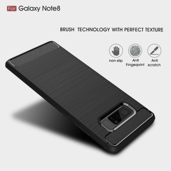 Mooncase Case for Samsung Galaxy Note 8 Carbon Fiber Resilient DropProtection Anti-Scratch Rugged Armor Case Red - intl - 2