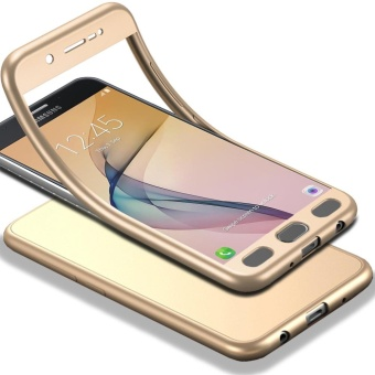 MOONCASE Galaxy J7 Prime (2017) Full-Body Case Shockproof Soft TPU Matte Finish Slim Cover 2 in 1 Full Coverage Protection with Tempered Glass Screen Protector for Samsung Galaxy J7 Prime (2017) Gold - intl