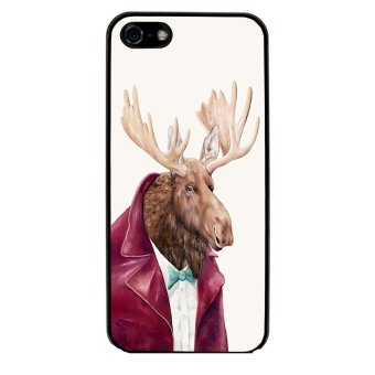Moose Pattern Phone Case for iPhone 4/4S (Black)