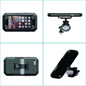 Motorcycle Handlebar Mount Holder for Apple iPhone 6 / 6s Plus 5.5 inch Bike Phone Holder Support Waterproof Case (Black For i6 6S PLUS) - intl - 4