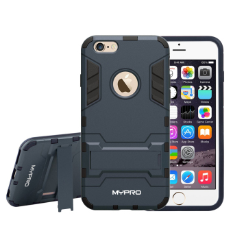 MYPRO Robot-Bear Dual Layer Protective Hybrid Armor Case with Kick-Stand for iPhone 6/6S (Black)