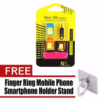 Nano SIM Adapter to Micro SIM to Standard SIM Card Adapter 5-in-1Tool Kit with Free Finger Ring Holder for iPhone (Color May Vary) Price Philippines