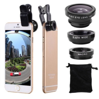 New 3 In 1 Fish Eye + Wide Angle + Macro Camera Clip-on Lens For iPhone 6/ Plus/ 5S/ 5 Samsung Silver