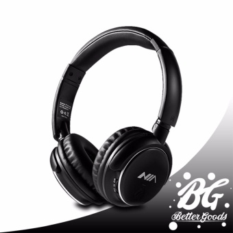 Nia Q1 Bluetooth Headsets with Micro SD and AUX Slot/FM Radio (Black)