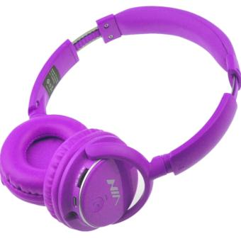 Nia Q1 Bluetooth Headsets with Micro SD and AUX Slot/FM Radio(Purple)