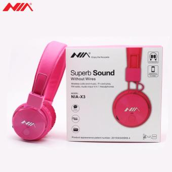 NIA X3 Superb Sound Foldable 108dB 4-in-1 Wireless BluetoothHeadset with FM Radio and TF/AUX Slot (Pink) - 5