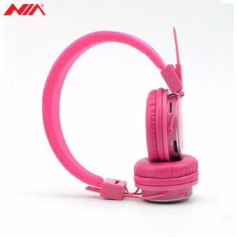 NIA X3 Superb Sound Foldable 108dB 4-in-1 Wireless BluetoothHeadset with FM Radio and TF/AUX Slot (Pink) - 4