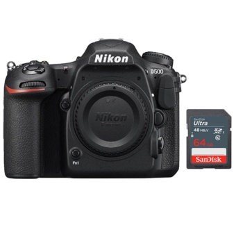 Nikon D500 Body Only + 64GB SD Bundle - intl