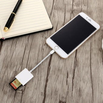 OTG SD Card Reader Digital Camera Reader Adapter Cable for iPhone5/6/7 and iPad White - intl - 5