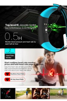 P1 Bluetooth 4.0 Waterproof IP67 Smart Wristband Smartband BloodPressure Monitor Heart Rate Monitor Smart Bracelet Fitness TrackerSmart Band for Android and IOS - Blue - intl - 3