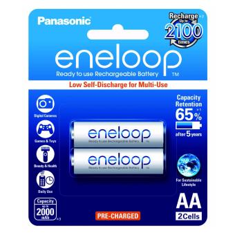 Panasonic eneloop BK 3MCCE 2BT AA Rechargeable Battery Pack of 2 (White)