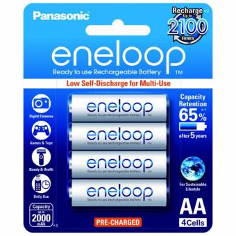 Panasonic eneloop BK 3MCCE 4BT AA Rechargeable Battery Pack of 4 (White)