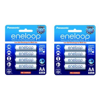 Panasonic eneloop BK 3MCCE 4BT AA Rechargeable Battery Pack of 4 (White) x2