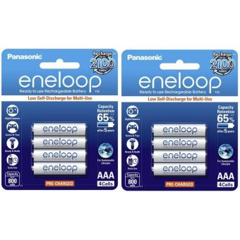 Panasonic eneloop BK 4MCCE 4BT AAA Rechargeable Battery Pack of 4 (White) x2