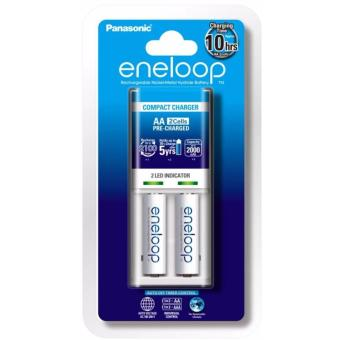 Panasonic K-KJ50MCC20T Battery Charger with Eneloop Rechargeable AA Pack of 2 (White)