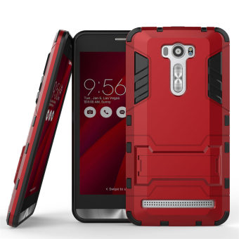 PC + Silicone Dual-Layer Bumper Case with Kickstand for Asus Zenfone 2 Laser ZE601KL 6.0 inch (Red)