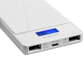 Pineng PN-983 10000mAh Power Bank (White) with Mini Metal Clip MP3 Player (Color May Vary) - 3