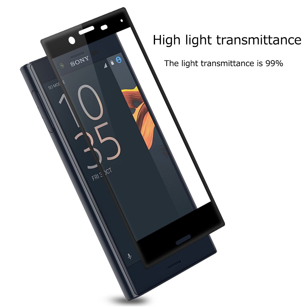 PopSky Tempered Glass Carbon Fiber Premium 9H Film Screen Protector for SONY XPERIA X COMPACT .