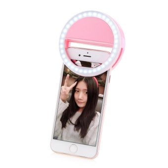 Portable Fill-in Flash LED Selfie Ring Light for Smartphone (Pink)